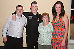 Karl O'Donoghue with Peter, his gran Margaret and Victoria O'Donoghue at the Party for the 2010 U21 World Pool Champion in Alverno House, Laytown....Photo NEWSFILE/Jenny Matthews.(Photo credit should read Jenny Matthews/NEWSFILE)....This Picture has been sent you under the condtions enclosed by:.Newsfile Ltd..The Studio,.Millmount Abbey,.Drogheda,.Co Meath..Ireland..Tel: +353(0)41-9871240.Fax: +353(0)41-9871260.GSM: +353(0)86-2500958.email: pictures@newsfile.ie.www.newsfile.ie.FTP: 193.120.102.198.