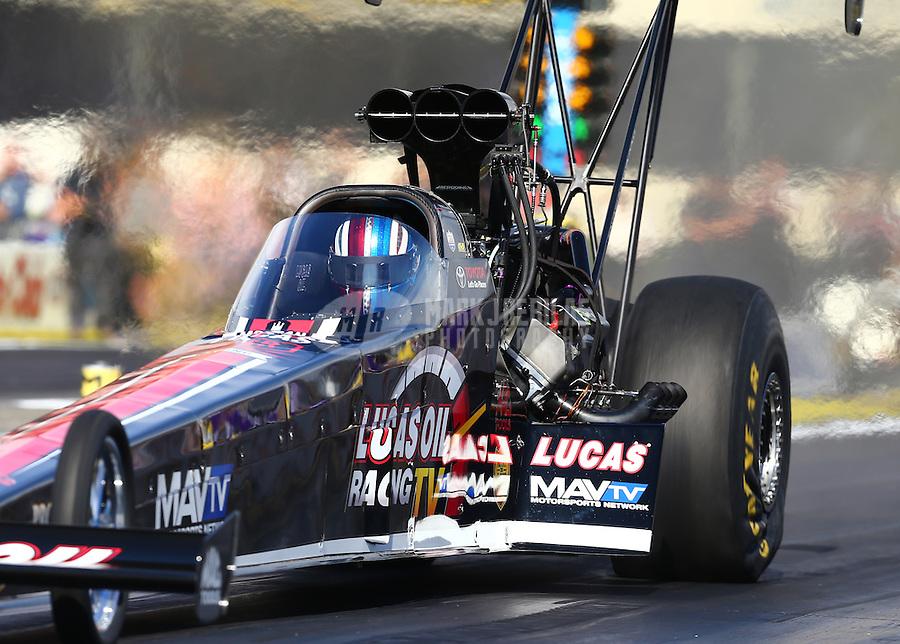 Feb 14, 2016; Pomona, CA, USA; NHRA top fuel driver Morgan Lucas during the Winternationals at Auto Club Raceway at Pomona. Mandatory Credit: Mark J. Rebilas-USA TODAY Sports