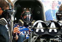 Apr 25, 2014; Baytown, TX, USA; NHRA funny car driver Robert Hight during qualifying for the Spring Nationals at Royal Purple Raceway. Mandatory Credit: Mark J. Rebilas-