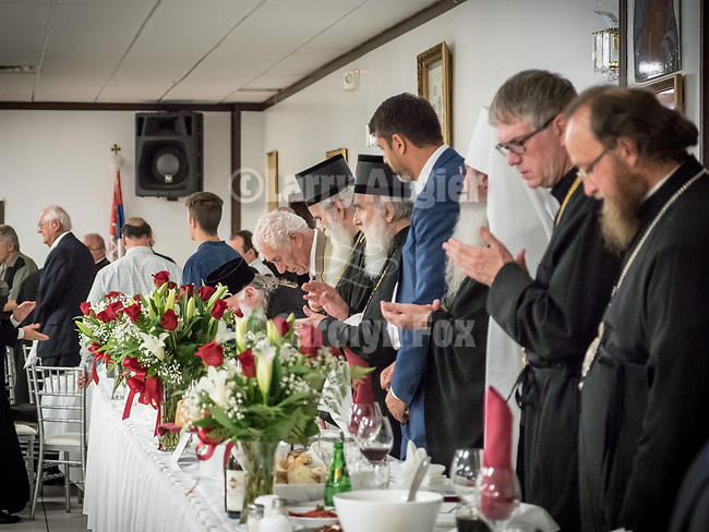 Banquet at the conclusion of the Glorification of St. Mardarije at the fellowship hall, New Gracanica Monastery, Third Lake, Illinois, with Patriarch Irinej and hosted by Bishop Longin.<br /> <br /> #NGMWADiocese<br /> #GlorificationStMardarije, #Chicago, #PatriarchIrinej, #MetropolitanAmphiloije<br /> #SerbianOrthodoxChurchPatriarchal Divine Liturgy service with His Holiness Irinej to venerate and glorify the relics of St. Mardarije of Libertyville, St. Sava Monastery Church<br /> <br /> #NGMWADiocese<br /> #GlorificationStMardarije, #Chicago, #PatriarchIrinej, #MetropolitanAmphiloije<br /> #SerbianOrthodoxChurch<br /> #www.stsavamonastery.org