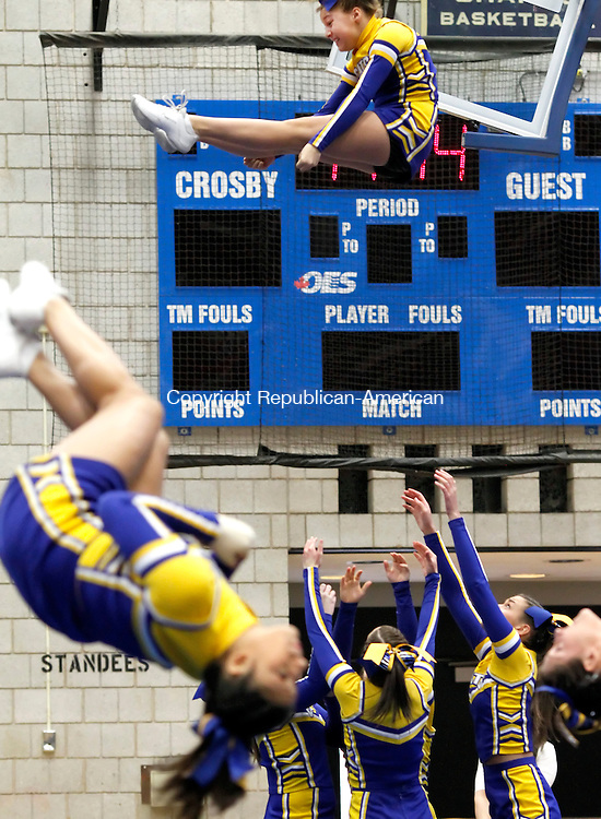 Waterbury, CT- 26, February 2011-022611CM06 Seymour High School girls cheerleading competes during the NVL Cheerleading Championships Saturday morning in Waterbury.  The competition was held at Crosby High School.  Christopher Massa Republican-American