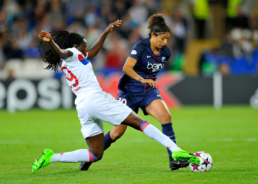 Paris Saint-Germain's Cristiane is tackled by Olympique Lyonnais' Griedge M'Bock Bathy<br /> <br /> Photographer Ashley Crowden/CameraSport<br /> <br /> UEFA Women's Champions League Final - Lyon Women v Paris Saint-Germain Women - Thursday 1st June 2017 - Cardiff City Stadium<br />  <br /> World Copyright &copy; 2017 CameraSport. All rights reserved. 43 Linden Ave. Countesthorpe. Leicester. England. LE8 5PG - Tel: +44 (0) 116 277 4147 - admin@camerasport.com - www.camerasport.com