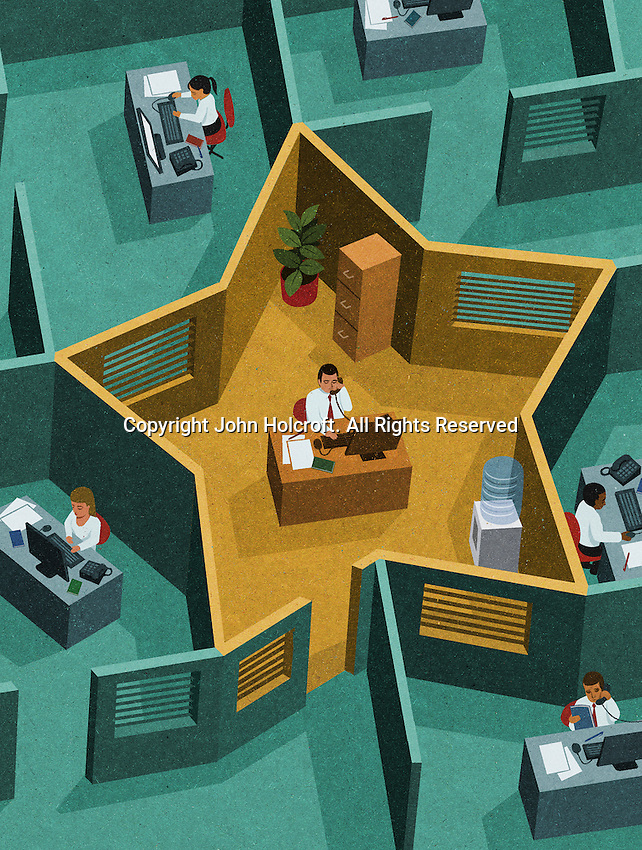 Man in office working in star-shaped cubicle ExclusiveImage