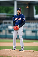 New Hampshire Fisher Cats starting pitcher T.J. Zeuch (28) gets ready to deliver a pitch during the second game of a doubleheader against the Harrisburg Senators on May 13, 2018 at FNB Field in Harrisburg, Pennsylvania.  Harrisburg defeated New Hampshire 2-1.  (Mike Janes/Four Seam Images)