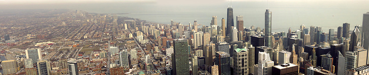 Chicago Scenes: Chicago skyline panoramic from the Skydeck, Willis Tower (Sears Tower). (DePaul University/Jamie Moncrief)