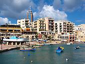Luzzus in Spinola Bay, St Julian's, Malta