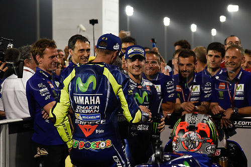 March 26th 2017, Doha, Qatar; MotoGP Grand Prix Qatar; Valentino Rossi and Maverick Vinales celebrates his win
