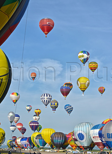 26.07.2015. Chambley Bussieres, France. Hot Air balloon presentation.  Many balloons leave the ground making a wonderful sight