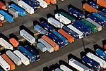 Aerial view of Maersk Container Cars Aerial views of artistic patterns in the earth.