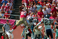 SAN FRANCISCO, CA - San Francisco 49ers Jerry Rice in action making a touchdown catch during a game against the San Diego Chargers at Candlestick Park in San Francisco, California on October 9, 1991. Photo by Brad Mangin