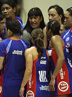 Mystics coach Te Aroha Keenan (centre top) lays down the law in the final quarter during the ANZ Netball Championship match between the Central Pulse and Northern Mystics, TSB Bank Arena, Wellington, New Zealand on Monday, 4 May 2009. Photo: Dave Lintott / lintottphoto.co.nz