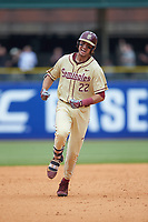 Drew Mendoza (22) of the Florida State Seminoles celebrates as he rounds the bases after hitting a three-run home run against the North Carolina Tar Heels in the 2017 ACC Baseball Championship Game at Louisville Slugger Field on May 28, 2017 in Louisville, Kentucky. The Seminoles defeated the Tar Heels 7-3. (Brian Westerholt/Four Seam Images)