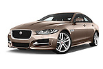 Stock pictures of low aggressive front three quarter view of 2015 Jaguar XE R-Sport 4 Door Sedan Low Aggressive