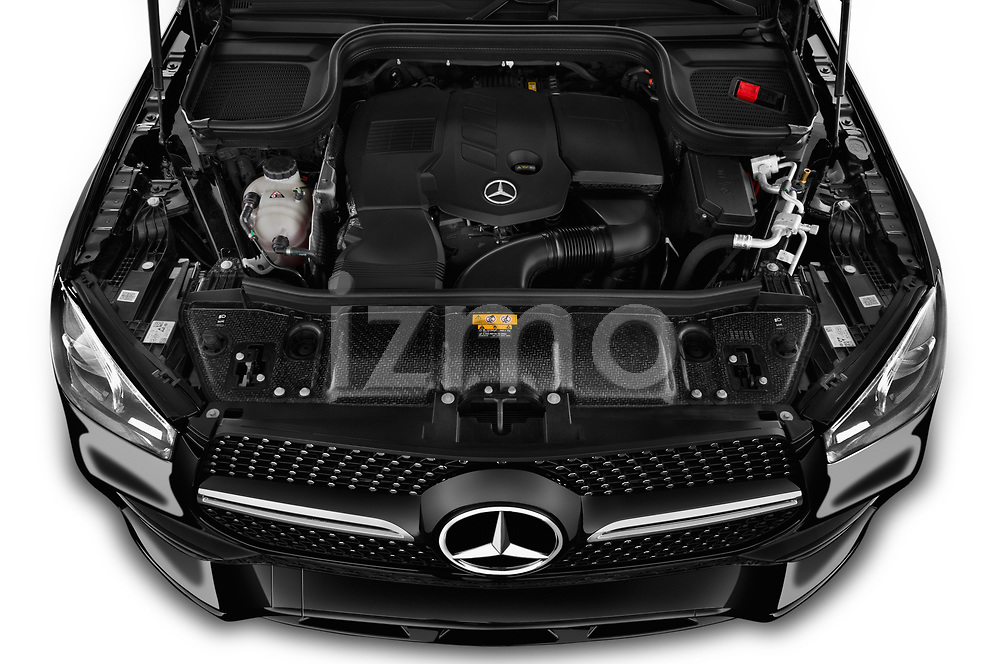 Car stock 2020 Mercedes Benz GLE AMG-Line 5 Door SUV engine high angle detail view