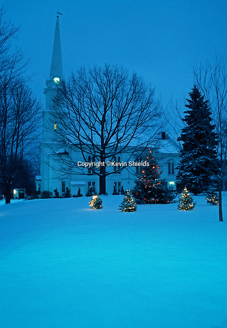 Church in the Winter in Camden, Maine, USA