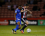 Daniel Lafferty of Sheffield Utd hold off Ahmed Musa of Leicester City during the Carabao Cup, second round match at Bramall Lane, Sheffield. Picture date 22nd August 2017. Picture credit should read: Simon Bellis/Sportimage