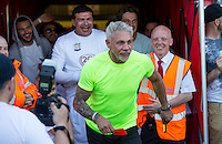 Wayne Lineker runs onto the field to give the Referee a Red Card during the 'Greatest Show on Turf' Celebrity Event - Once in a Blue Moon Events at the London Borough of Barking and Dagenham Stadium, London, England on 8 May 2016. Photo by Andy Rowland.