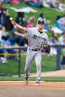 Dayton Dragons third baseman Brantley Bell (24) makes a throw to first base against the West Michigan Whitecaps on April 24, 2016 at Fifth Third Ballpark in Comstock, Michigan. Dayton defeated West Michigan 4-3. (Andrew Woolley/Four Seam Images)