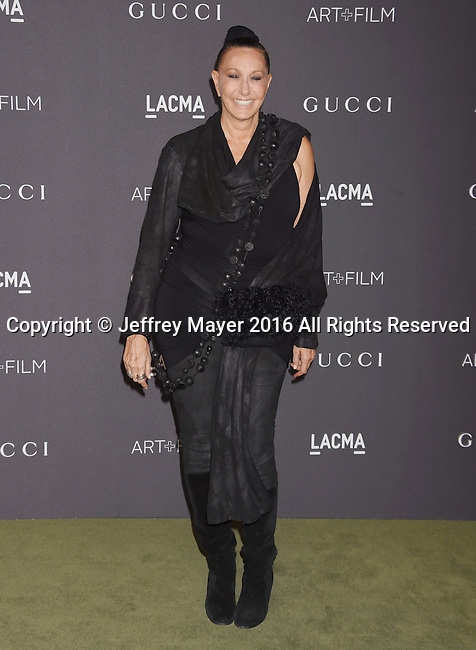LOS ANGELES, CA - OCTOBER 29: Designer Donna Karan attends the 2016 LACMA Art + Film Gala honoring Robert Irwin and Kathryn Bigelow presented by Gucci at LACMA on October 29, 2016 in Los Angeles, California.