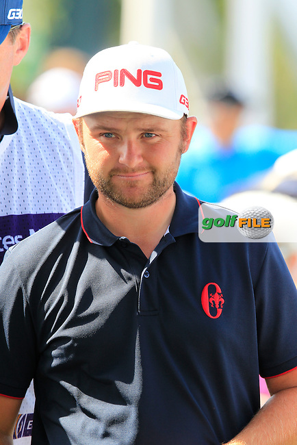 Andy SULLIVAN (ENG) on the 1st tee during Sunday's Final Round of the 2015 Omega Dubai Desert Classic held at the Emirates Golf Club, Dubai, UAE.: Picture Fran Caffrey, www.golffile.ie: 2/1/2015