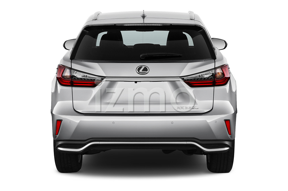 Straight rear view of a 2017 Lexus RX 350 L 5 Door SUV stock images