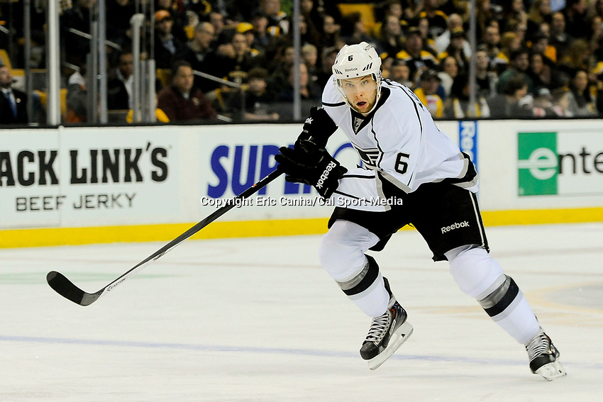 January 20, 2014 - Boston, Massachusetts, U.S. - Los Angeles Kings defenseman Jake Muzzin (6) in game action during the NHL game between Los Angeles Kings and the Boston Bruins held at TD Garden in Boston Massachusetts. The Bruins defeated the Kings 3-2 in regulation time.   Eric Canha/CSM