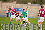 Bernard Cronin (Scartaglin) tries to block           (Na Gaeil) in the Div 4 County League on Saturday evening at Na Gaeil GAA Grounds on Saturday evening.................................................................... ........