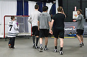 Kevin Rich (PC - 17), Mark Jankowski (PC - 10), ?, Trevor Mingoia (PC - 9), Stefan Demopoulos (PC - 12) - The Providence College Friars warmed up prior to the Frozen Four final at TD Garden on Saturday, April 11, 2015, in Boston, Massachusetts.