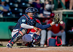 25 February 2019: Atlanta Braves catcher Carlos Martinez in action during a pre-season Spring Training game against the Washington Nationals at Champion Stadium in the ESPN Wide World of Sports Complex in Kissimmee, Florida. The Braves defeated the Nationals 9-4 in Grapefruit League play in what will be their last season at the Disney / ESPN Wide World of Sports complex. Mandatory Credit: Ed Wolfstein Photo *** RAW (NEF) Image File Available ***