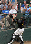 SIOUX FALLS, SD - JULY 8:  Catcher Kevin Dultz #21 from the Sioux Falls Canaries catches a foul ball in front of the fans against the Lincoln Saltdogs in the fourth inning Monday night at the Sioux Falls Stadium. (Photo by Dave Eggen/Inertia)
