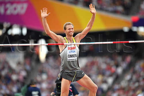 August 12th 2017, London Stadium, East London, England; IAAF World Championships, Day 9;  Germany's Eike Onnen walks gestures after his successful attempt in the high jump at the IAAF London 2017 World Athletics Championships in London, United Kingdom, 13 August 2017.