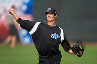 Hudson Valley Renegades pitcher Tomas Michelson (38) throws in the outfield before a game against the Vermont Lake Monsters on September 3, 2015 at Centennial Field in Burlington, Vermont.  Vermont defeated Hudson Valley 4-1.  (Mike Janes/Four Seam Images)