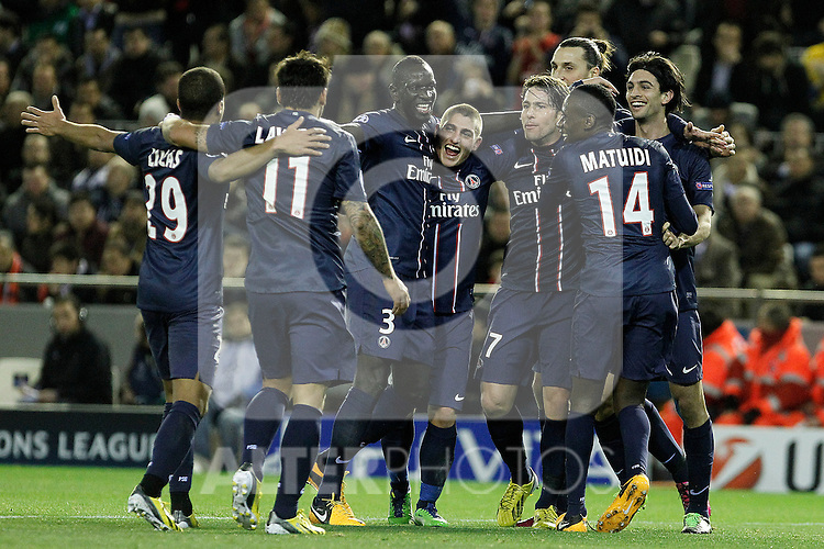 Paris Saint-Germain's Lucas, Ezequiel Lavezzi, Mamadou Sakho, Marco Verratti, Maxwell, Zlatan Ibrahimovic, Blaise Matuidi and Javier Pastore celebrate goal during Champions League 2012/2013 match.February 12,2013. (ALTERPHOTOS/Acero)