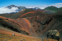 Cinder cones, lava flows and erosion are the essence of the crater beauty in HALEAKALA NATIONAL PARK on Maui in Hawaii