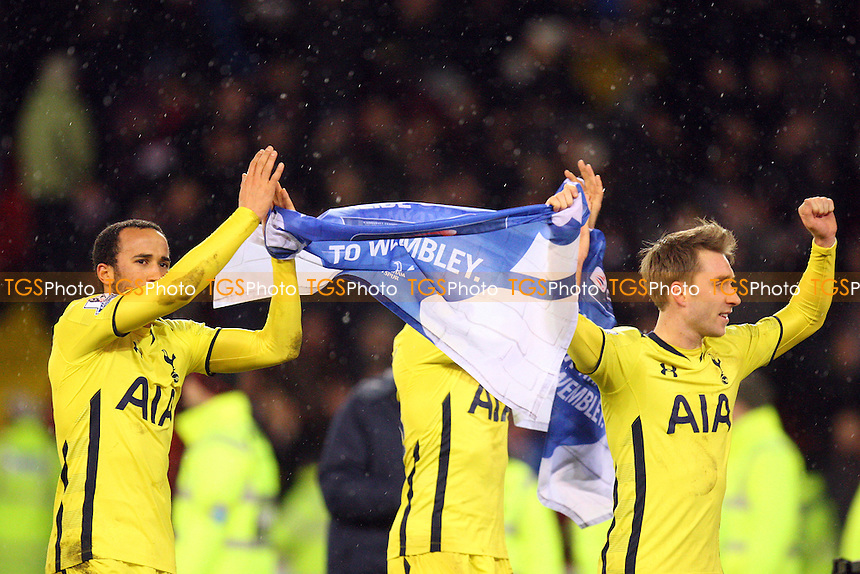 Tottenham Hotspur players applaud the fans at the end of the gae - Sheffield United vs Tottenham Hotspur - Capital One Cup Semi Final action at the Brammell Lane Stadium on 28/01/2015 - MANDATORY CREDIT: Dave Simpson/TGSPHOTO - Self billing applies where appropriate - 0845 094 6026 - contact@tgsphoto.co.uk - NO UNPAID USE