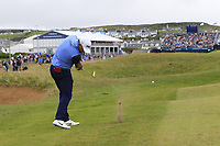 Lee Westwood (ENG) plays his 2nd shot on the 18th hole during Saturday's Round 3 of the Dubai Duty Free Irish Open 2019, held at Lahinch Golf Club, Lahinch, Ireland. 6th July 2019.<br /> Picture: Eoin Clarke | Golffile<br /> <br /> <br /> All photos usage must carry mandatory copyright credit (© Golffile | Eoin Clarke)