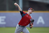NJIT Highlanders relief pitcher James Sofield (21) in action against the High Point Panthers at Williard Stadium on February 18, 2017 in High Point, North Carolina. The Panthers defeated the Highlanders 11-0 in game one of a double-header. (Brian Westerholt/Four Seam Images)