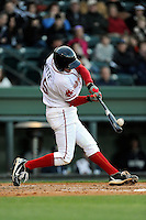 First baseman Jantzen Witte (35) of the Greenville Drive bats in a game against the Charleston RiverDogs on Wednesday, April 16, 2014, at Fluor Field at the West End in Greenville, South Carolina. Charleston won, 8-7. (Tom Priddy/Four Seam Images)
