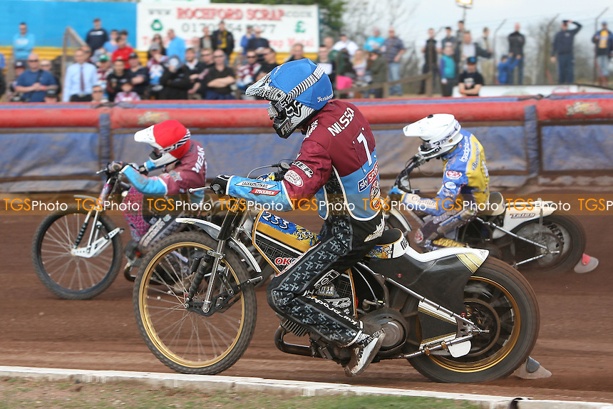Heat 14: Rob Mear (red), Kim Nilsson (blue) and Cameron Woodward - Lakeside Hammers vs Eastbourne Eagles - Sky Sports Elite League Speedway at Arena Essex Raceway, Purfleet - 06/04/12 - MANDATORY CREDIT: Gavin Ellis/TGSPHOTO - Self billing applies where appropriate - 0845 094 6026 - contact@tgsphoto.co.uk - NO UNPAID USE.