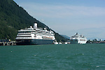 Alaska, Juneau: Cruise ships in Juneau..Photo #: alaska10276 .Photo copyright Lee Foster, 510/549-2202, lee@fostertravel.com, www.fostertravel.com..