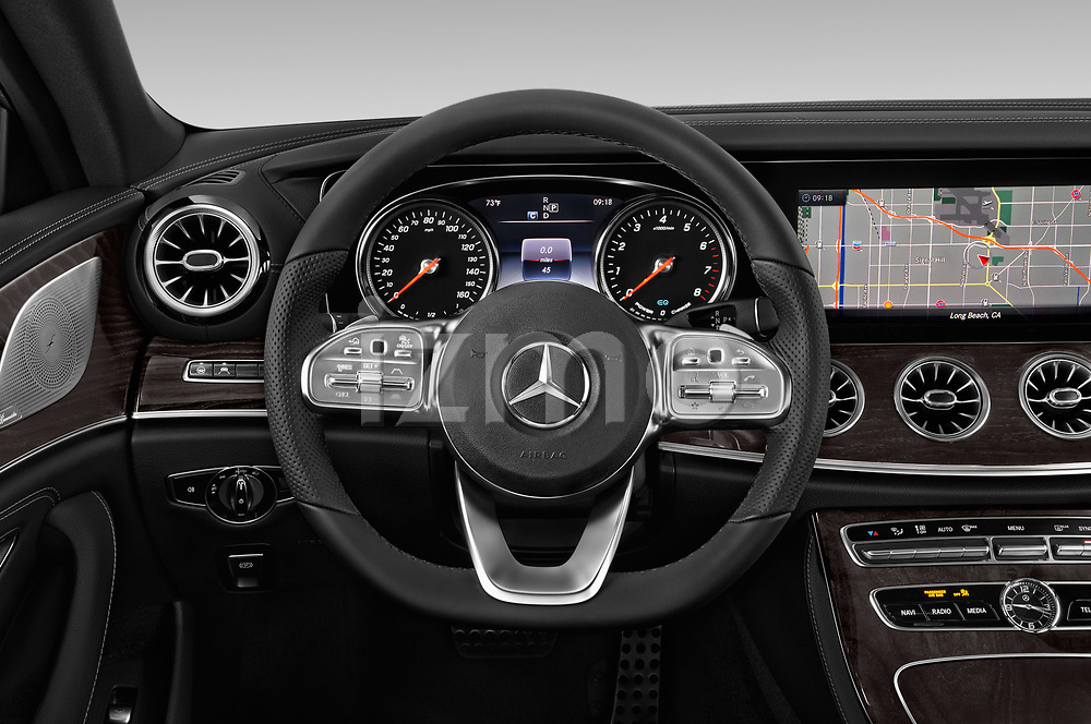 Car pictures of steering wheel view of a 2019 Mercedes Benz CLS-Coupe CLS450 4 Door Sedan
