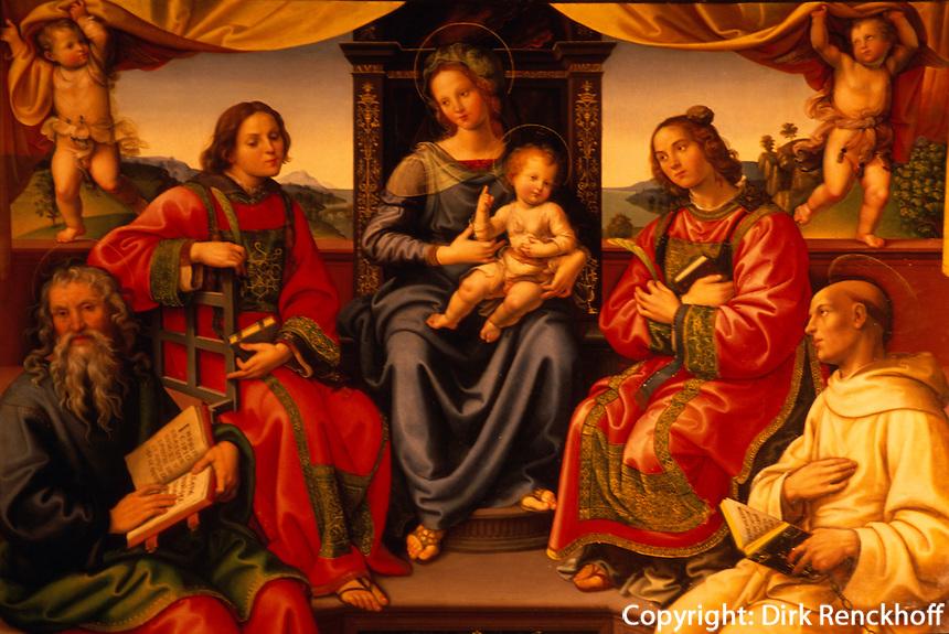 Italien, Toskana, Florenz, in Santo Spirito, Gemaelde Madonna mit Kind von Raffaelino