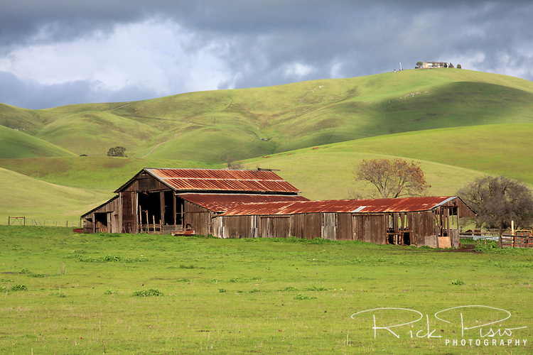 Barn and storm clouds north of Livermore, California