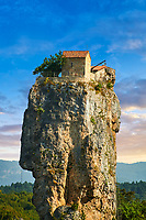 Picture &amp; image of Katskhi Pillar Georgian Orthodox church on a 40 m (130 ft) natural limestone rock pillar near Chiatura, Imereti Region, Georgia (country).<br /> <br /> Studies have shown that the pillar was an early medieval hermitage occupied from at least the 9th century.