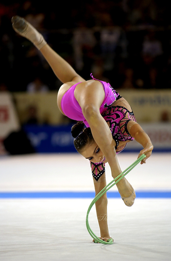 October 20, 2001; Madrid, Spain:  ALINA KABAEVA of Russia performs with rope at 2001 World Championships at Madrid.