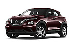 Stock pictures of low aggressive front three quarter view of 2020 Nissan Juke 5 Door SUV Low Aggressive