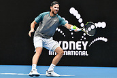 11th January 2018, Sydney Olympic Park Tennis Centre, Sydney, Australia; Sydney International Tennis,quarter final; Adrian Mannarino (ITA) hits a forehand return in his match against Fabio Fognini (ITA)