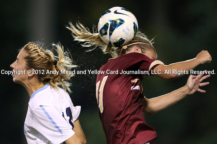 04 October 2012: Boston College's Kate McCarthy (right) and UNC's Kelly McFarlane (left). The University of North Carolina Tar Heels defeated the Boston College Eagles 1-0 at Fetzer Field in Chapel Hill, North Carolina in a 2012 NCAA Division I Women's Soccer game.