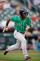 Norfolk Tides Cedric Mullins (38) runs to first base during an International League game against the Buffalo Bisons on June 21, 2019 at Sahlen Field in Buffalo, New York.  Buffalo defeated Norfolk 1-0, the second game of a doubleheader.  (Mike Janes/Four Seam Images)