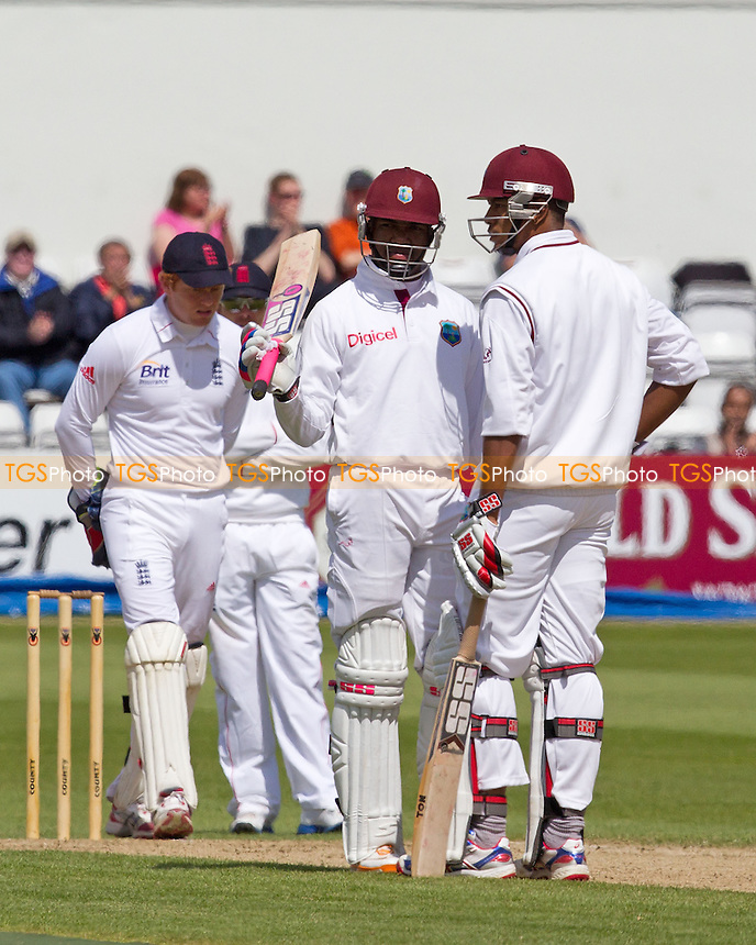 Darren Bravo, West Indies acknowledges his half century - West Indies vs England Lions - International Cricket Match at The County Ground, Northamptonshire CCC - 12/05/12 - MANDATORY CREDIT: Ray Lawrence/TGSPHOTO - Self billing applies where appropriate - 0845 094 6026 - contact@tgsphoto.co.uk - NO UNPAID USE.